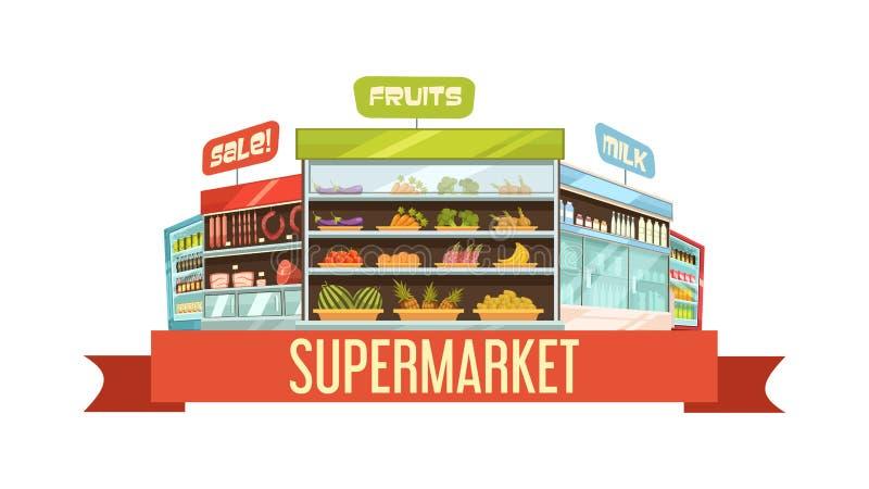 Cartel retro de la composición del soporte de exhibición del supermercado libre illustration