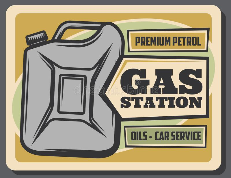 Cartel retro de la gasolinera, bidón de la gasolina libre illustration