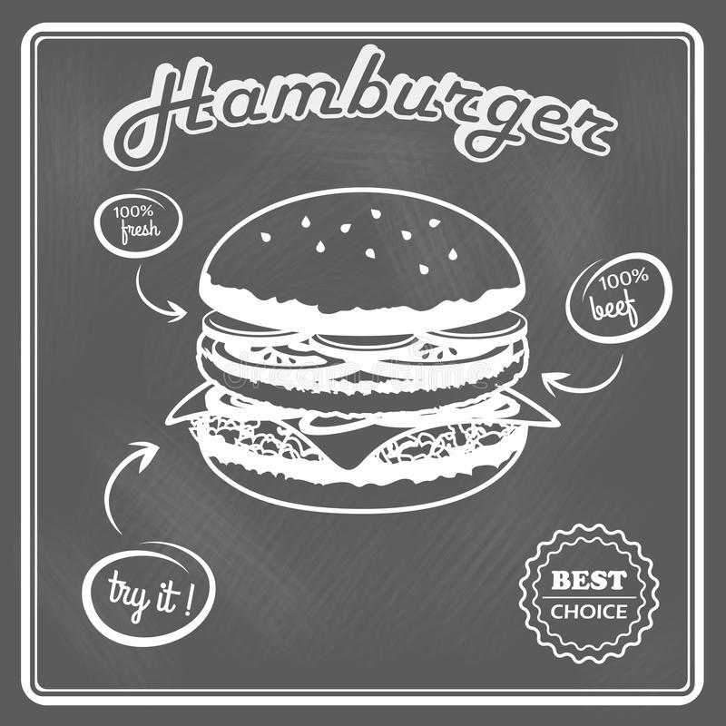 Cartel retro de la hamburguesa ilustración del vector