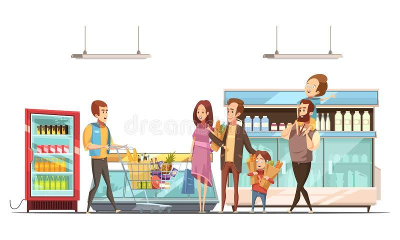 Cartel retro de la historieta de la paternidad que hace compras stock de ilustración