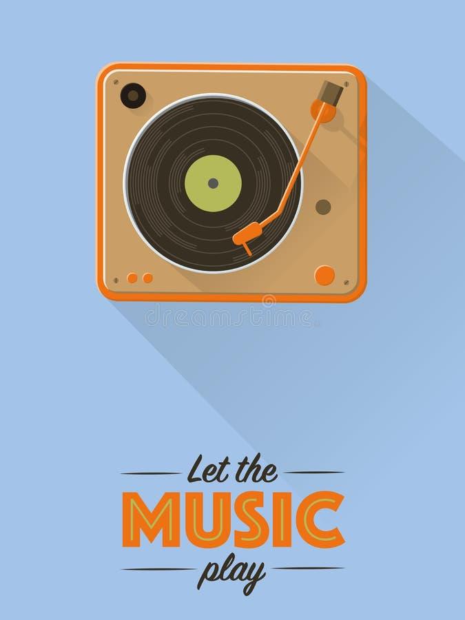 Cartel retro de la música de la placa giratoria del vintage libre illustration