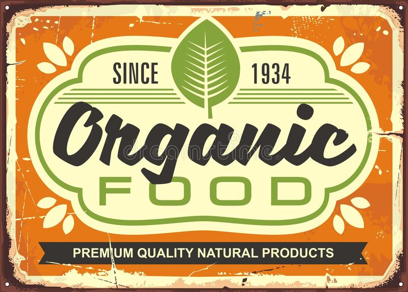Cartel retro de la muestra del alimento biológico ilustración del vector