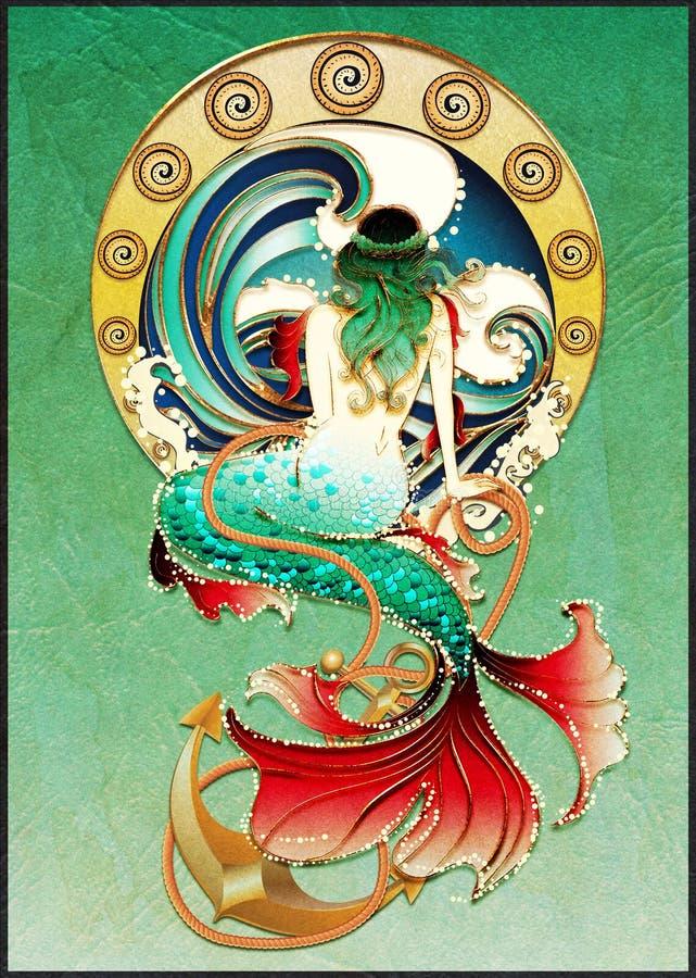 Cartel retro de la sirena ilustración del vector