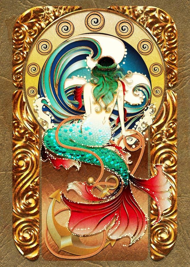 Cartel retro de la sirena stock de ilustración