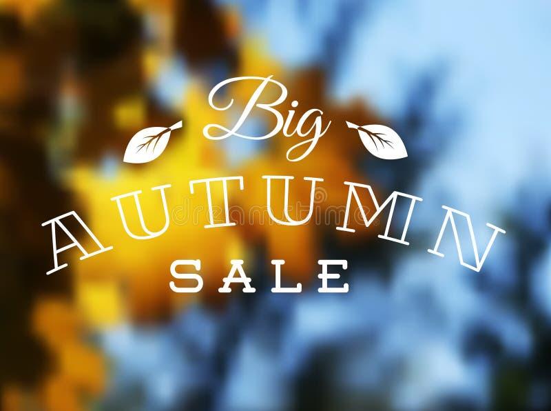 Cartel retro de la venta del otoño stock de ilustración