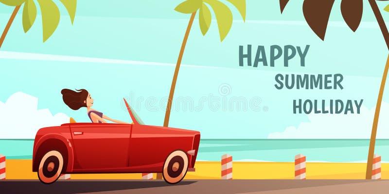 Cartel retro de las vacaciones de las vacaciones de verano del coche libre illustration
