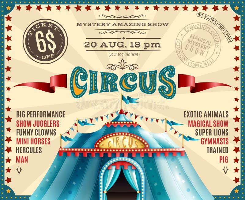 Cartel retro del aviso del funcionamiento del circo libre illustration
