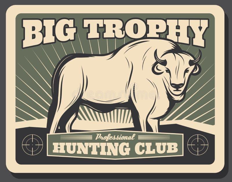 Cartel retro del búfalo del vector para el club de caza stock de ilustración
