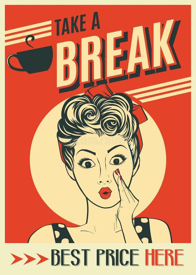 Cartel retro del café de la publicidad con la mujer del arte pop libre illustration