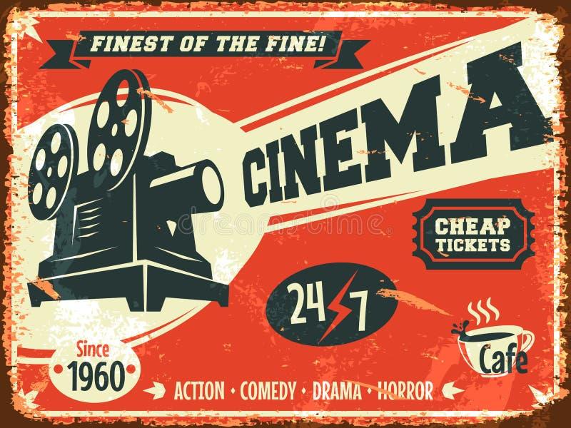 Cartel retro del cine del Grunge stock de ilustración