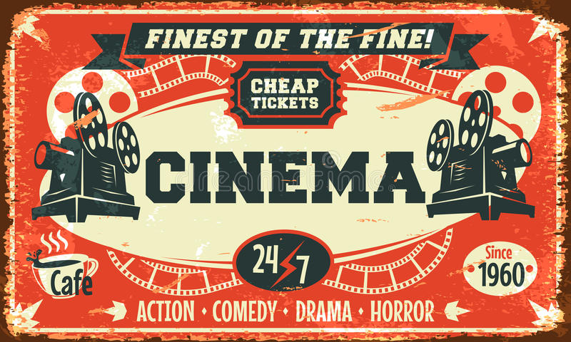 Cartel retro del cine del Grunge ilustración del vector