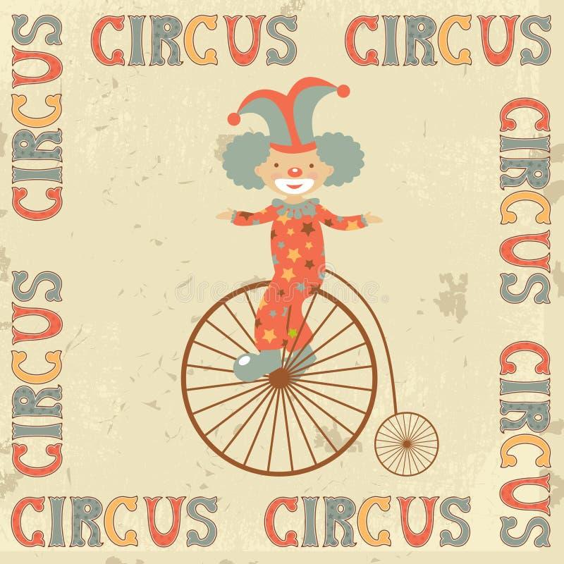Cartel retro del circo con el payaso ilustración del vector