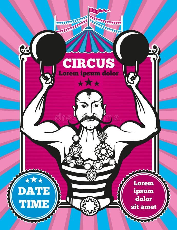 Cartel retro del circo del vector del vintage ilustración del vector
