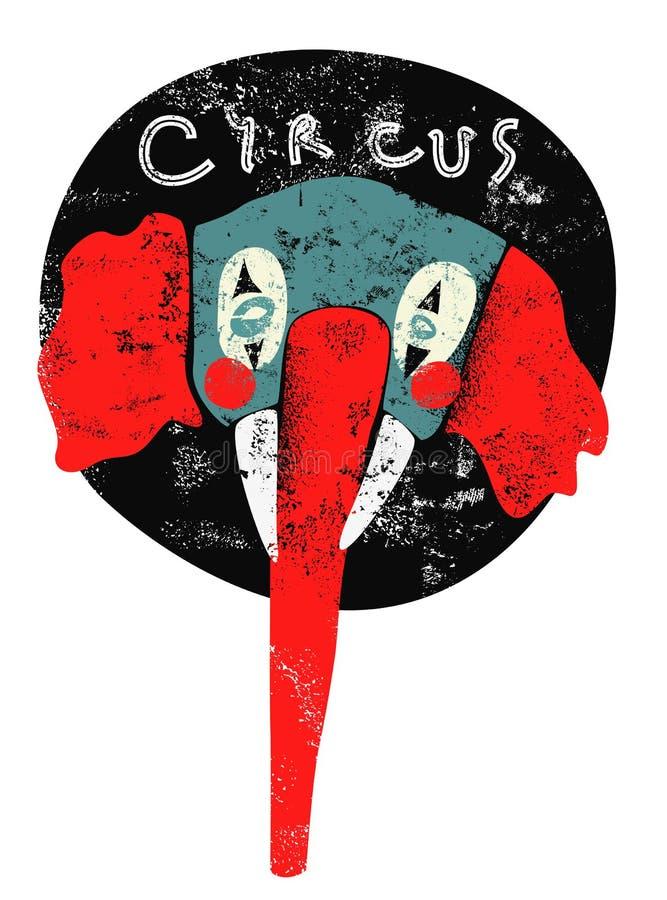 Cartel retro del circo Payaso del elefante Ilustración del vector ilustración del vector