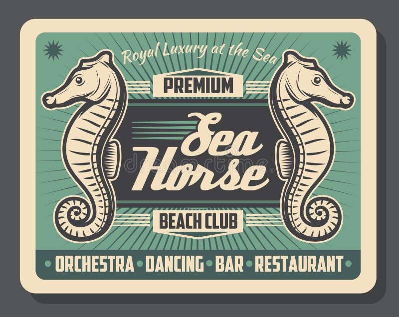 Cartel retro del club de la playa del caballo de mar libre illustration