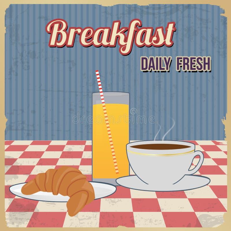 Cartel retro del desayuno ilustración del vector