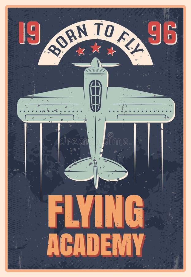Cartel retro del estilo de la academia del vuelo stock de ilustración