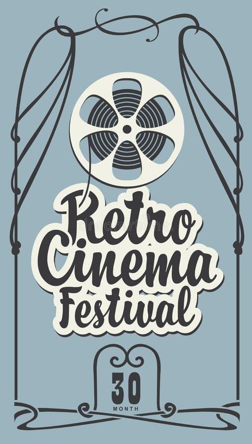 Cartel retro del festival del cine con el carrete de la tira de la pel?cula stock de ilustración