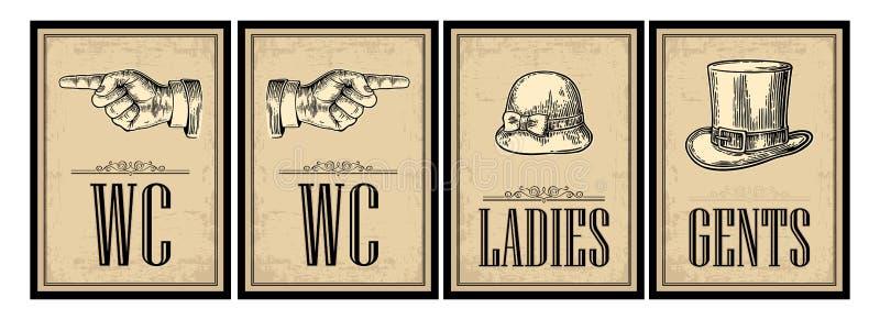 Cartel retro del grunge del vintage del retrete Señoras, centavos, señalando el finger libre illustration