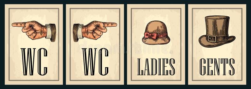Cartel retro del grunge del vintage del retrete Señoras, centavos, señalando el finger ilustración del vector