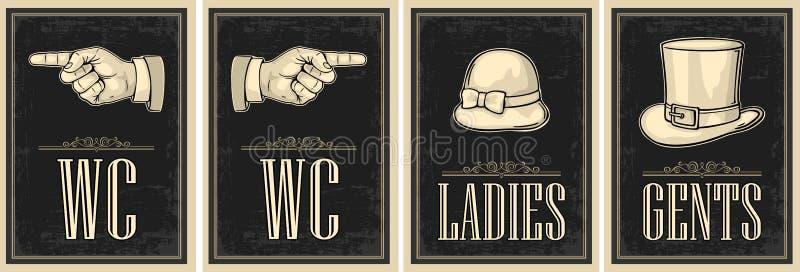 Cartel retro del grunge del vintage del retrete Señoras, centavos, señalando el finger Vector el ejemplo grabado vintage en un fo libre illustration