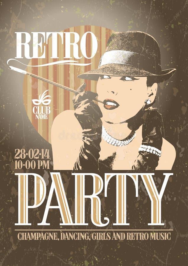 Cartel retro del partido con woma que fuma pasado de moda stock de ilustración