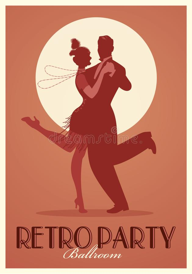 Cartel retro del partido Siluetas de la ropa que lleva de los pares en el estilo de los años 20 que bailan Charleston ilustración del vector