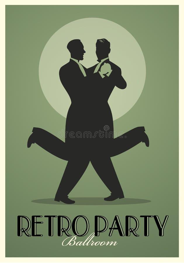 Cartel retro del partido Siluetas de los hombres que llevan el baile retro de los trajes libre illustration