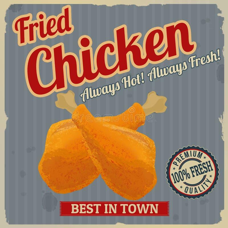 Cartel retro del pollo frito stock de ilustración