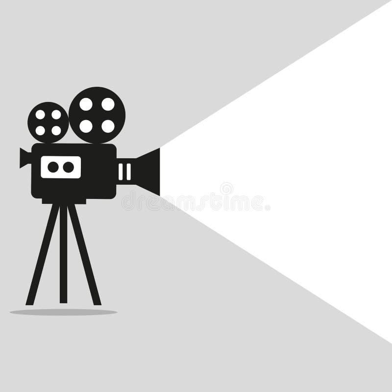 Cartel retro del proyector de película ilustración del vector