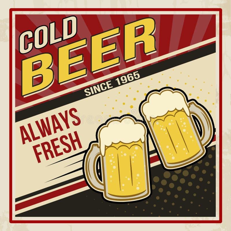 Cartel retro del vector de la cerveza stock de ilustración