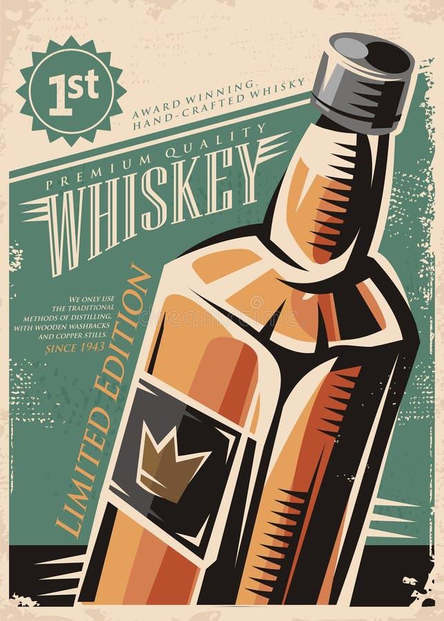 Cartel retro del vector del whisky libre illustration