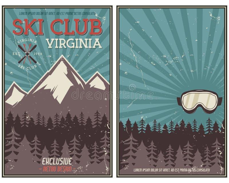 Cartel retro del verano o de las vacaciones de invierno Viaje y folleto de las vacaciones Bandera promocional que acampa Gafas de stock de ilustración
