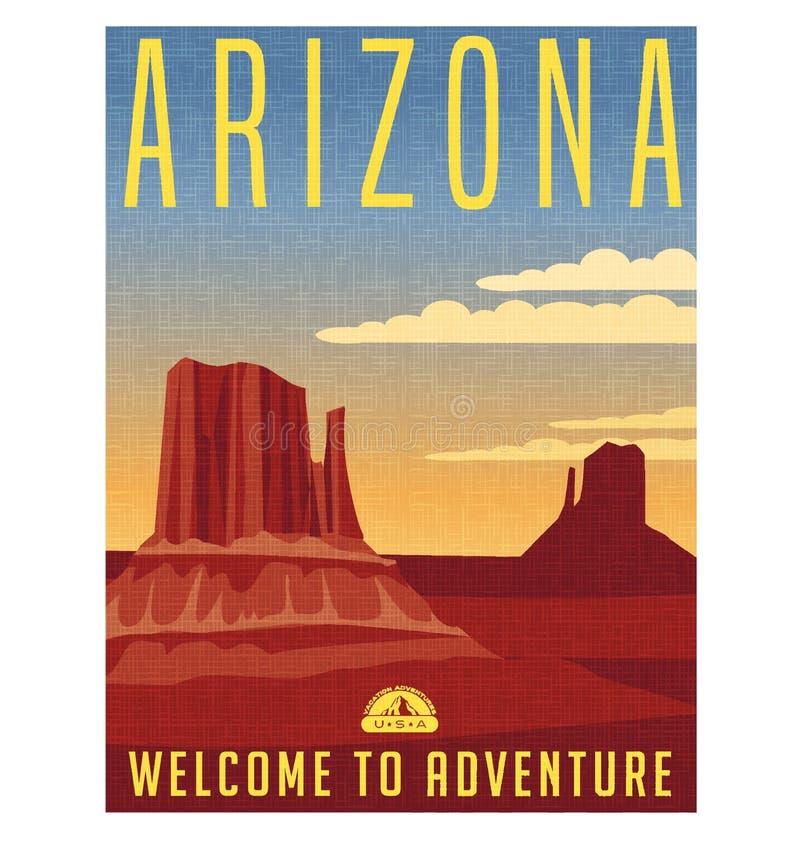 Cartel retro del viaje de Arizona Estados Unidos ilustración del vector
