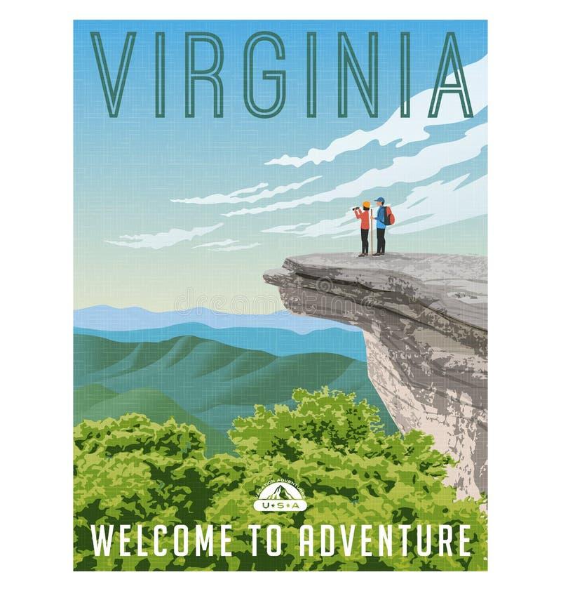 Cartel retro del viaje del estilo de Virginia, Estados Unidos libre illustration