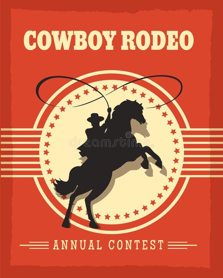 Cartel retro del viejo rodeo del oeste de los vaqueros stock de ilustración