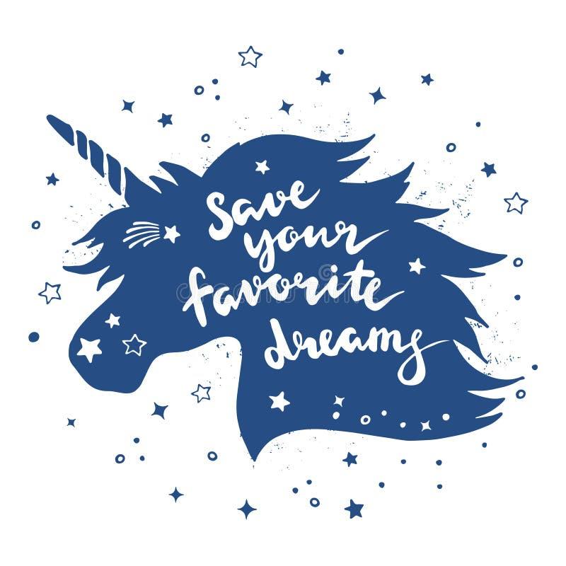 Cartel retro del vintage con la silueta del unicornio mágico y de la frase inspiradora Aislante del ejemplo del vector de las let ilustración del vector