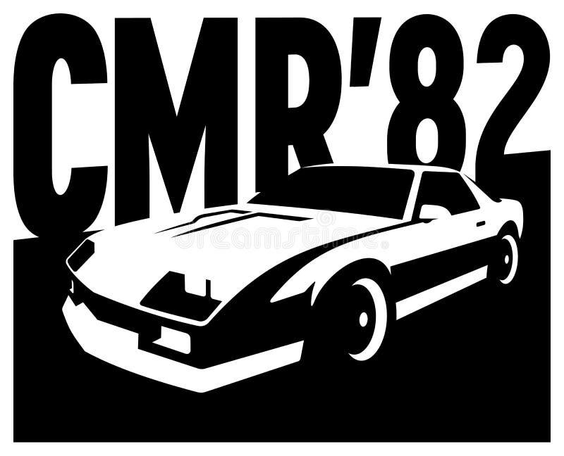 Cartel retro del vintage del ejemplo del vector del coche del músculo ilustración del vector