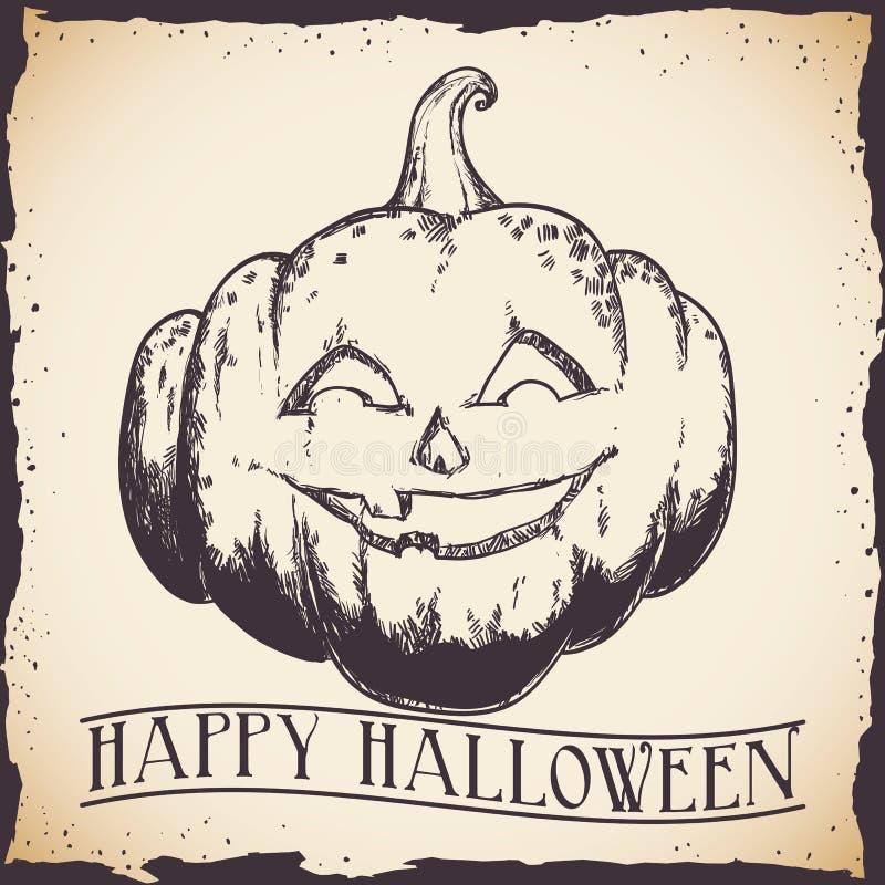 Cartel retro dibujado mano de la calabaza del feliz Halloween ilustración del vector