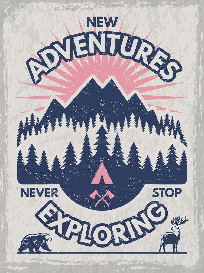 Cartel retro para el club de viajeros Ejemplos de la fauna Vector la plantilla del diseño con el lugar para su texto stock de ilustración