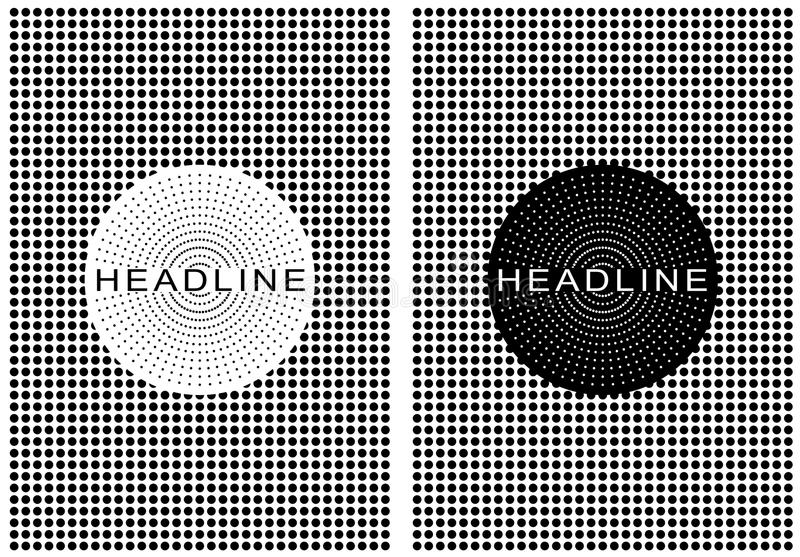 Cartel retro punteado blanco y negro ilustración del vector