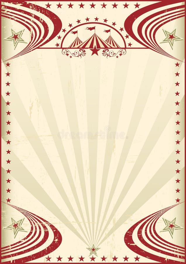 Cartel rojo del vintage del circo stock de ilustración