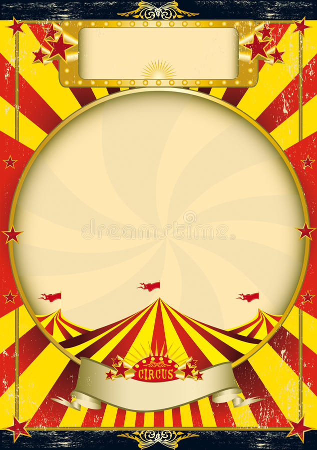 Cartel rojo y amarillo de la vendimia del circo stock de ilustración