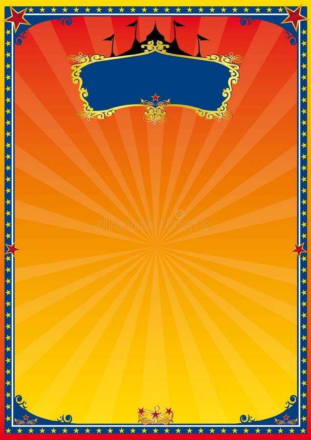 Cartel rojo y amarillo del circo stock de ilustración
