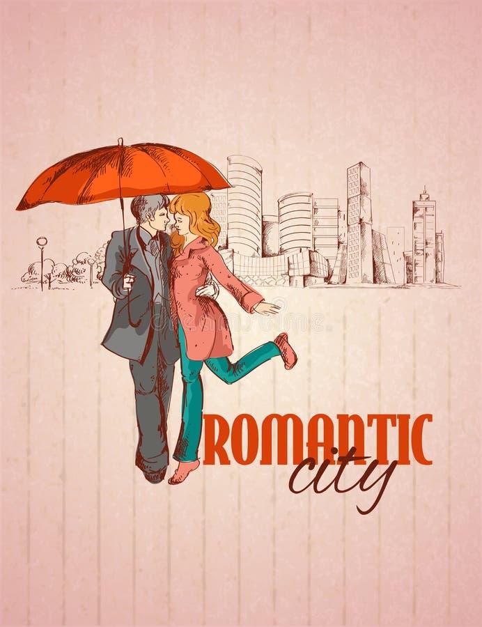 Cartel romántico de la ciudad stock de ilustración