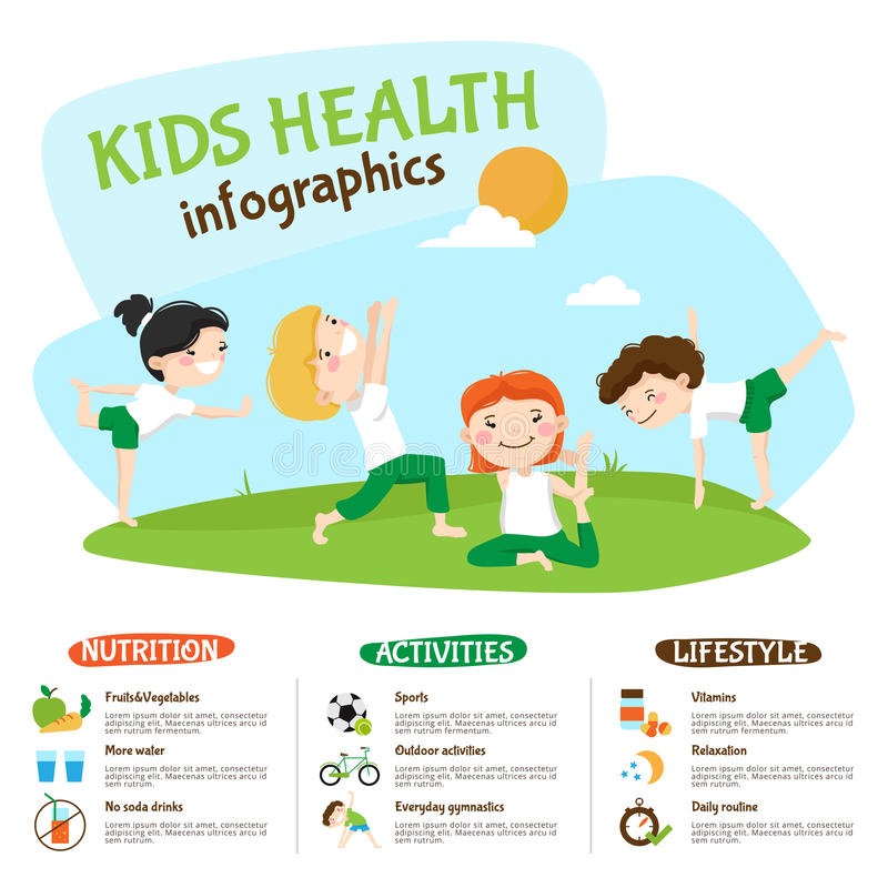 Cartel sano de Inforgrahic de la yoga de la forma de vida de los niños ilustración del vector
