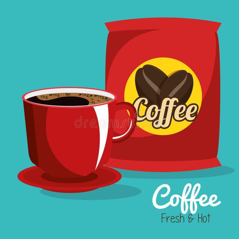 Cartel siempre fresco delicioso del café ilustración del vector