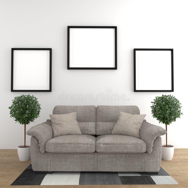 Cartel simple con el sofá y las plantas en la pared blanca en interior de la sala de estar representaci?n 3d stock de ilustración