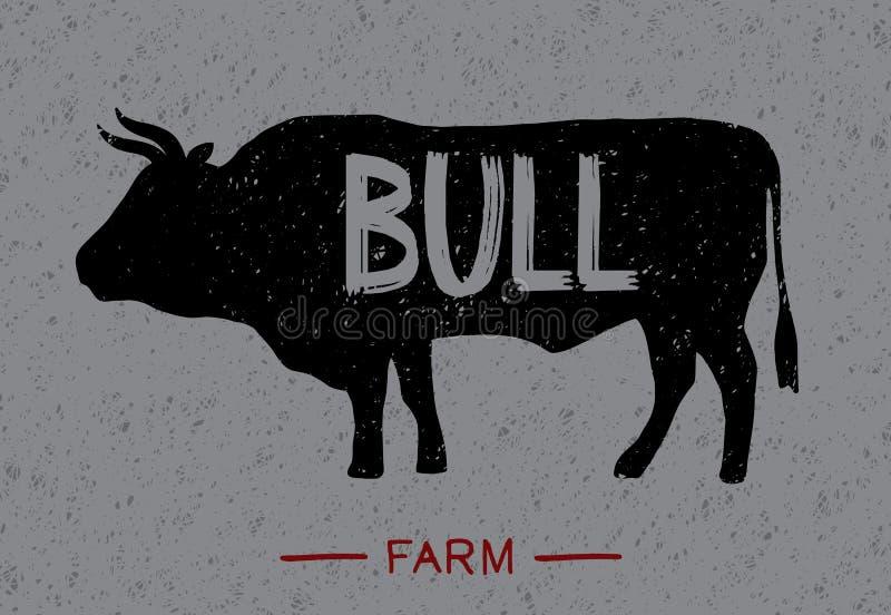 Cartel sobre toro stock de ilustración