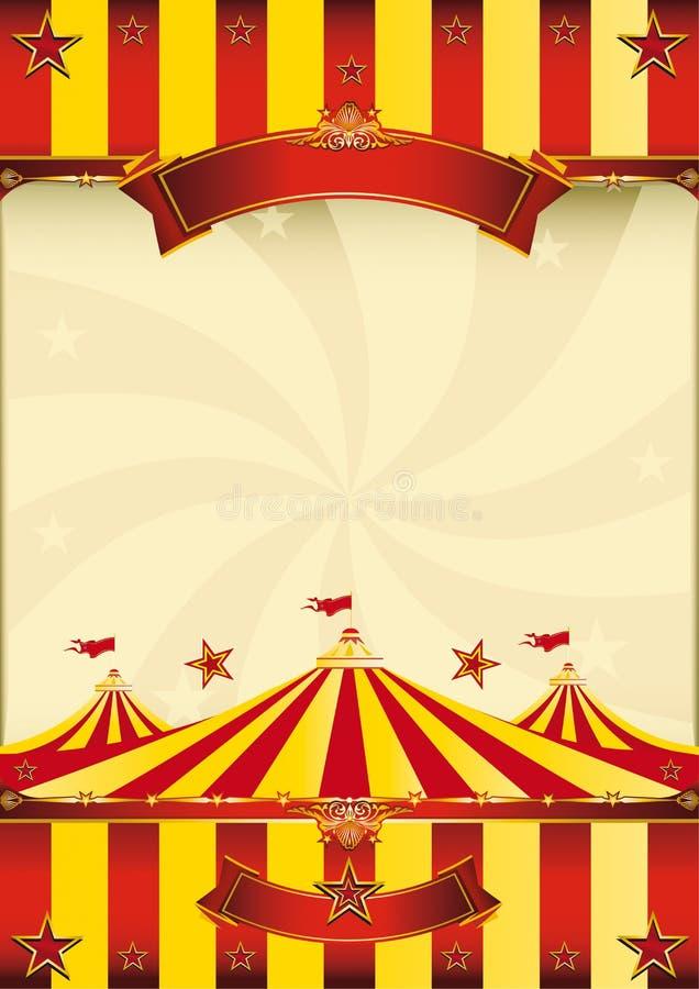 Cartel superior rojo y amarillo del circo ilustración del vector